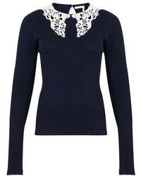 Chloé Pull avec détail tricoté - Bleu