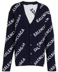 Balenciaga Cardigan mit Logo - Blau