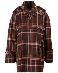 Acne Studios Plaid Wool Coat - Brown