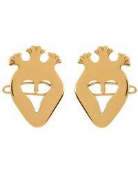 Patou Heart Hair Clips Pair - Metallic