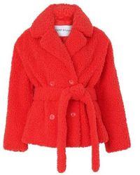 STAND Manteau Tiffany avec ceinture à nouer - Rouge