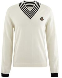 Gucci V-neck Wool Knit With Bee - White