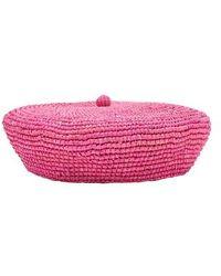 Sensi Studio Straw Beret - Pink