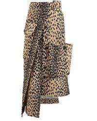 Jacquemus Deconstructed Button-front Animal-print Midi Skirt - Multicolour