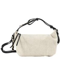 Ganni Linen And Leather Handbag - Multicolour