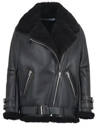 Acne Studios Shearling Aviator Jacket - Black