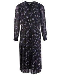 KENZO Passion Flower Pleated Midi Dress - Black