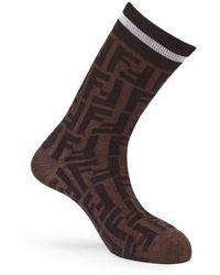 Fendi Monogram Socks - Brown