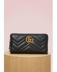 Gucci - Gg Marmont Zip Around Wallet - Lyst