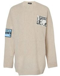 Raf Simons Oversized Jumper With Patches - Natural