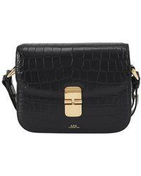 A.P.C. Grace Small Bag Crocodile Effect - Black