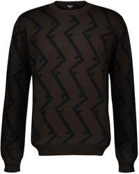 Fendi Pull à col rond en laine imprimé F Logo - Noir