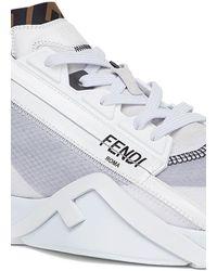 Fendi Chaussures basses en nylon noir - Blanc