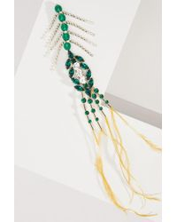 Dries Van Noten Crystals And Feathers Brooch - Green