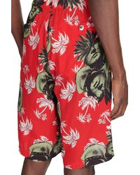 Undercover Floral Shorts - Red