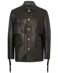 Versace Veste en cuir Peacot - Noir