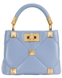 Valentino Garavani - Mini Top Handle Roman Stud Bag - Blue