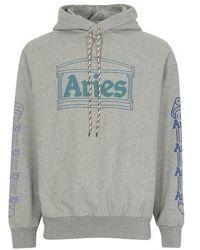 Aries Temple-print Cotton-jersey Hooded Sweatshirt - Gray