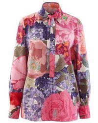 Valentino Chemise En Crêpe De Chine Avec Imprimé - Rose