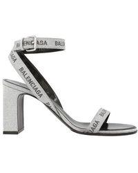 Balenciaga Block Heel Logo Print Sandals - Metallic