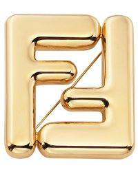 Fendi Maxi Logo Brooch - Metallic