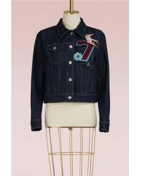 Miu Miu - Denim Jacket With Embroidered Number - Lyst