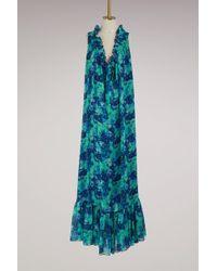 Lanvin - Georgette Silk Printed Long Dress - Lyst