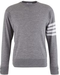 Thom Browne 4 Bar Stripe Merino Wool Jumper - Grey