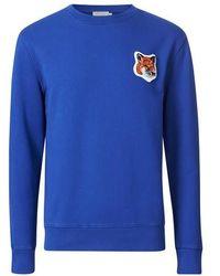 Maison Kitsuné Fox Head Patch Classic Sweatshirt - Blue