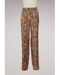 Etro - Printed Silk Pyjama Trousers - Lyst