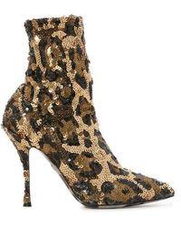 Dolce & Gabbana Robe midi en dentelle - Marron