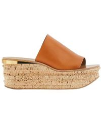 Chloé Camille Wedge Mules - Brown
