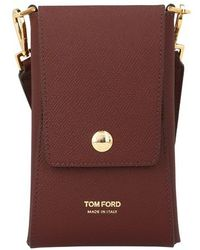 Tom Ford Leather Vertical Wallet With Strap - Multicolor