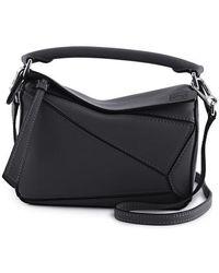 Loewe Puzzle Mini Leather Cross-body Bag - Black