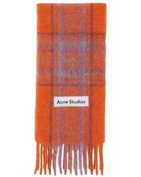 Acne Studios Schal mit Tartan-Muster - Orange