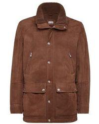 Brunello Cucinelli Outdoor-Jacke aus Schafleder - Braun