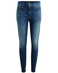 Mother The High Waisted Looker Ankle Fray Jeans - Blue