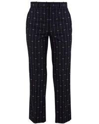 Gucci GG Wool Striped Pants - Blue