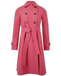 Harris Wharf London Pressed Wool Trench - Pink