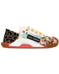 Dolce & Gabbana Niedrige Patchwork-Sneakers - Blau