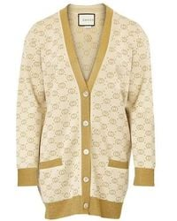 Gucci GG Pattern Buttoned Cardigan - Natural