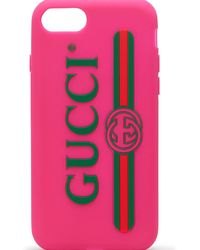 Gucci Rubber Iphone 7 Case With Logo - Pink