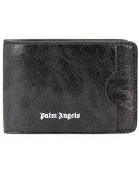 Palm Angels Porte-cartes en cuir - Noir