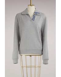Courreges Zipped Sweater With Logo - Gray
