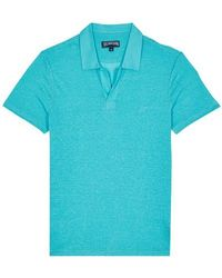 Vilebrequin Linen Jersey Polo Shirt Solid - Blue