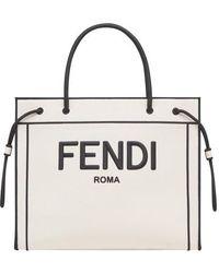 Fendi Sac Shopping Roma Large - Blanc