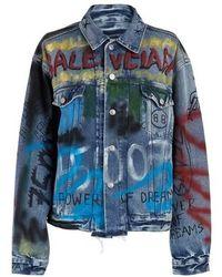 Balenciaga Veste en denim Graffiti - Bleu