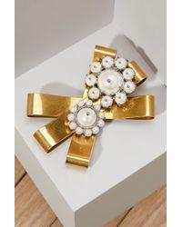 Miu Miu Pearls Brooch - Metallic