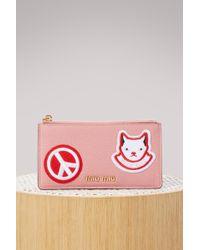 Miu Miu - Patches Zip Card Holder - Lyst