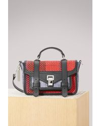Proenza Schouler Ps1+ Tiny Raffia, Leather And Coated Canvas Shoulder Bag Red